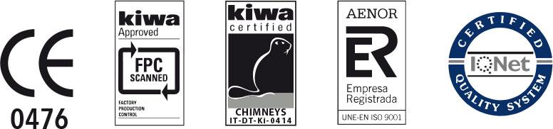 Certificados de la fabricación de tubos para chimeneas